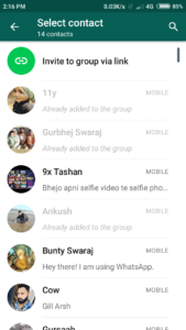 Create WhatsApp group invite link